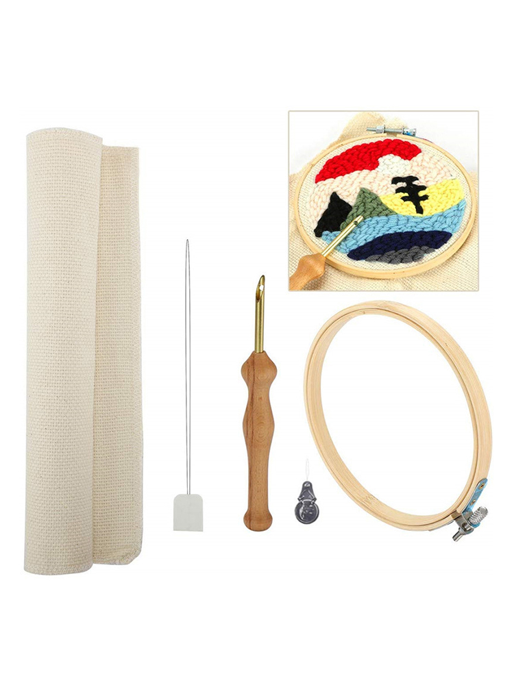 A Set Of Wooden Magic Embroidery Pen Punch Needle Felting Threader Set Needlework Kit With Embroidery Hoop Fabric Cloth Set For Women