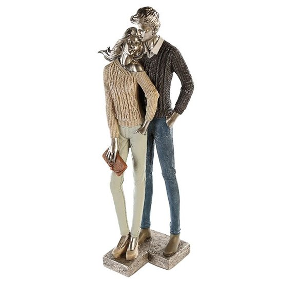 Cozy Couple Poly Design Sculpture In Colorful And Silver