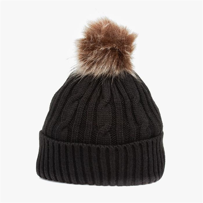 Lilley Womens Black Knitted Bobble Hat