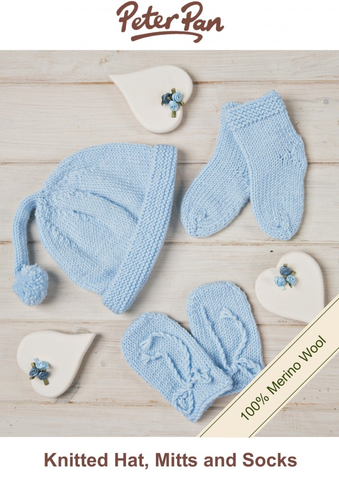 Peter Pan Baby Hat, Mittens & Socks Knitting Kit