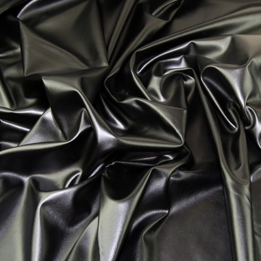 Heavy Stretch Faux Leather Knit Fabric Black