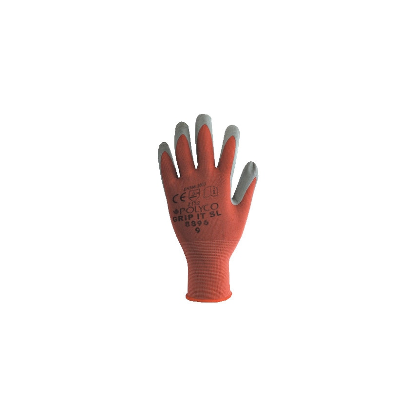 8895 Grip It Dry Palm-side Coated Red/Grey Gloves - Size 8