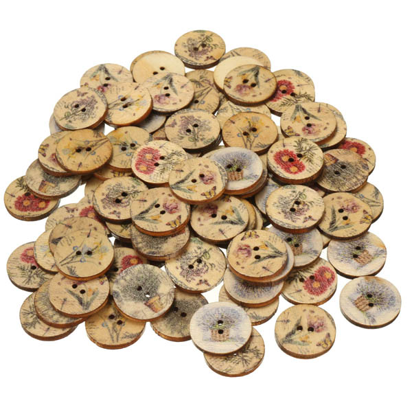 100pcs Wooden Flower Sewing Buttons DIY Craft Bag Hat Clothes Decoration Sewing Button