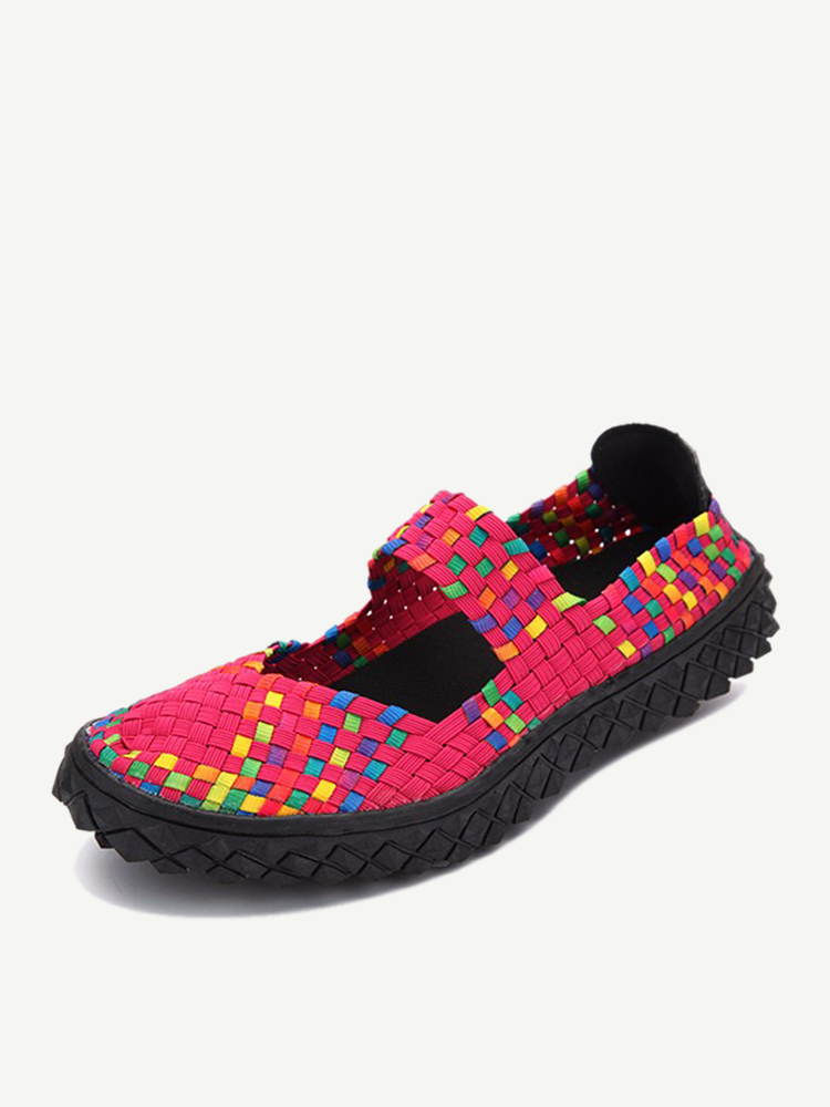 Color Match Knitting Elastic Handmade Slip On Flat Casual Outdoor Shoes