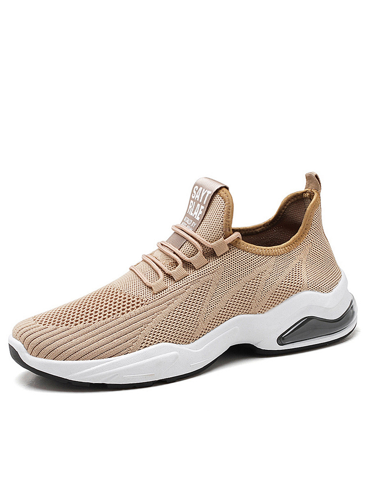 Men Knitted Fabric Breathable Comfy Air-cushion Sole Soft Casual Sneakers